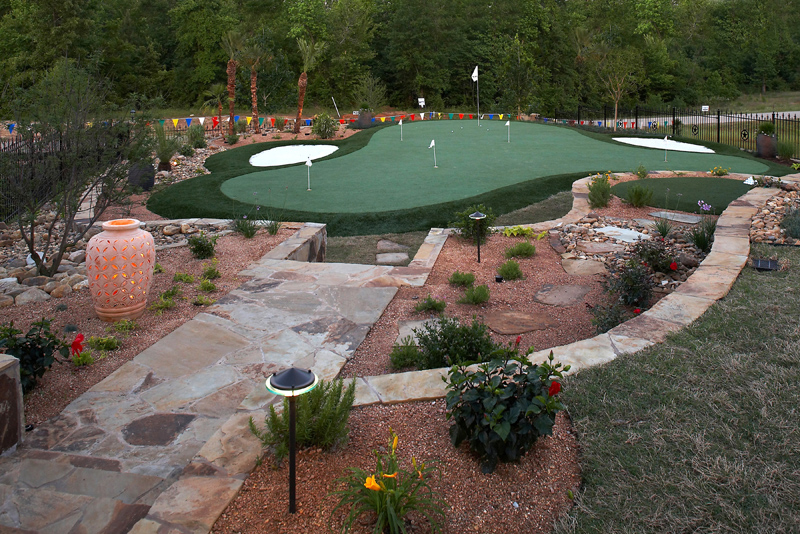 Stone walkways / retainer walls around a chipping / putting green in Longview, Texas